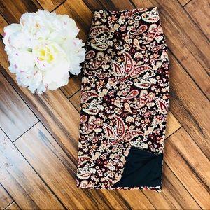 Dresses & Skirts - Paisley Knee Length Silk Skirt 16W  Fall